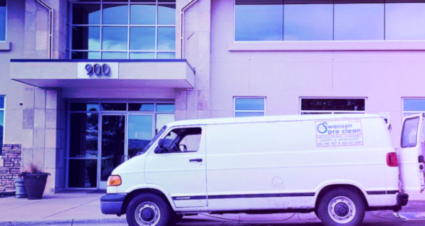 swanson pro clean van parked in front of one of their regular commercial clients